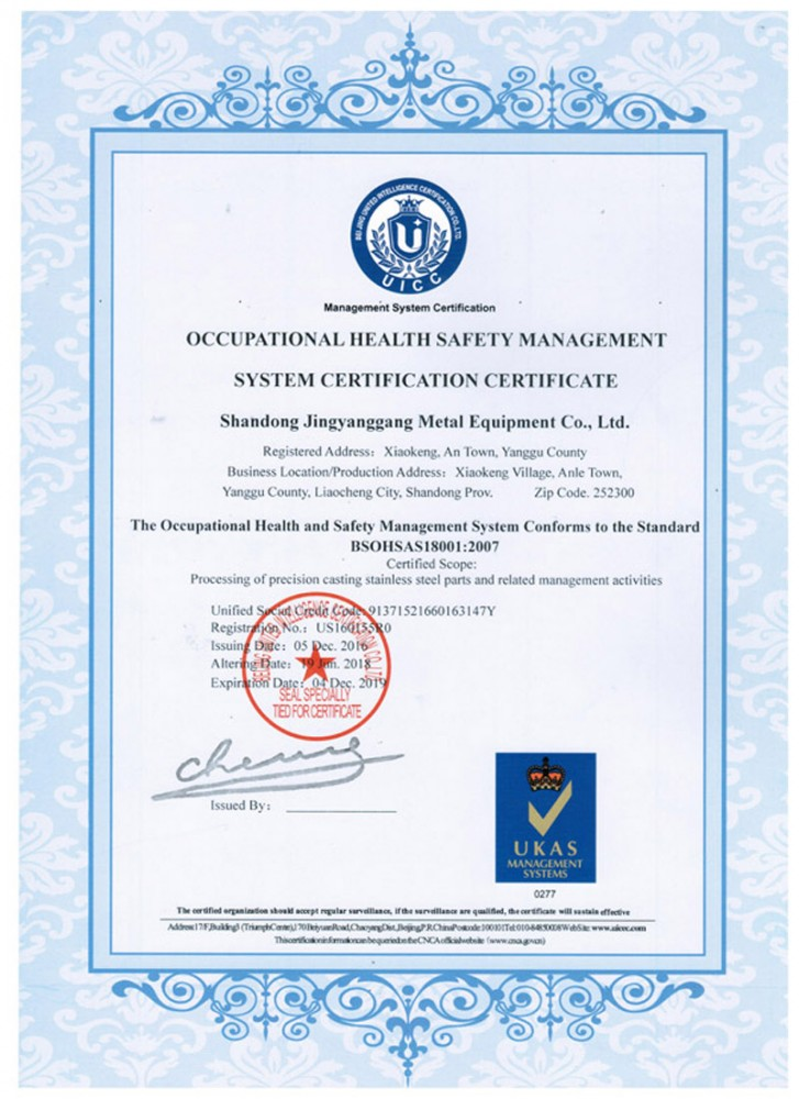 BS OHSAS 18001:2007 Health & Safety Management
