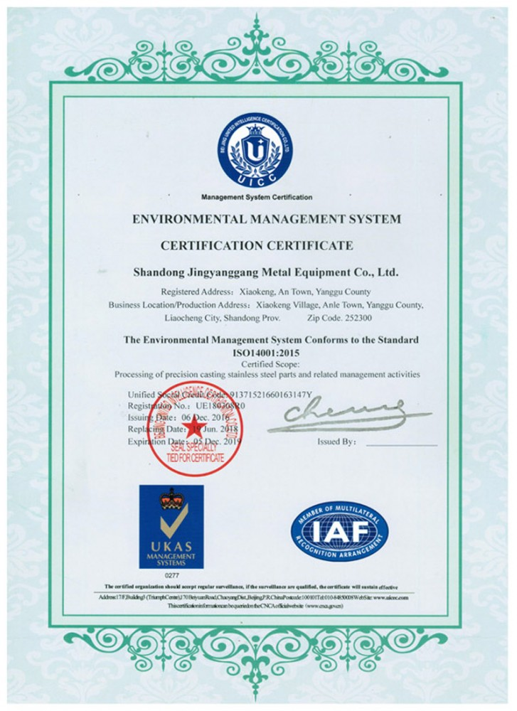 ISO14001:2015 Environmental Management System
